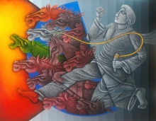 Figurative Acrylic Art Painting title Determination by artist Satyajeet Shinde