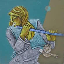 Figurative Acrylic Art Painting title 'Music IX' by artist Satyajeet Shinde