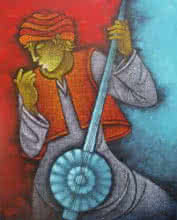 Figurative Acrylic Art Painting title 'Music V' by artist Satyajeet Shinde