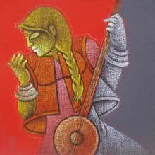 Figurative Acrylic Art Painting title 'Music VII' by artist Satyajeet Shinde