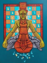 Figurative Acrylic Art Painting title The Being King by artist Satyajeet Shinde