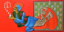 Figurative Acrylic Art Painting title The Being King 3 by artist Satyajeet Shinde