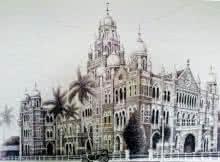 Churchgate W Rly Bldg | Drawing by artist Aman A | | ink | Canvas
