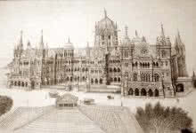 Chhatrapati Shivaji Terminus (VT) | Drawing by artist Aman A | | ink | Canvas