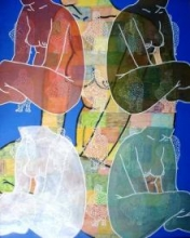 Deepak Kumar Ambuj | Acrylic Painting title Women 2 on Canvas | Artist Deepak Kumar Ambuj Gallery | ArtZolo.com