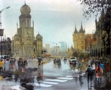 Mumbai After Shower II | Painting by artist Bhuwan Silhare | acrylic | Canvas