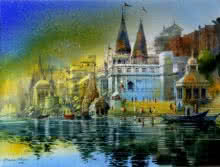 Banaras Ghat | Painting by artist Bhuwan Silhare | acrylic | Canvas