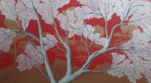 Nature Acrylic Art Painting title 'The White Tree' by artist Shuvankar Maitra
