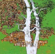 Bhaskar Rao | Acrylic Painting title Treescape 59 on Canvas | Artist Bhaskar Rao Gallery | ArtZolo.com