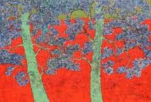 Bhaskar Rao | Acrylic Painting title Treescape 85 on Canvas | Artist Bhaskar Rao Gallery | ArtZolo.com