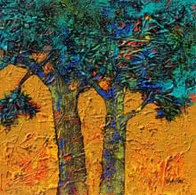 Bhaskar Rao | Acrylic Painting title Treescape 65 on Canvas | Artist Bhaskar Rao Gallery | ArtZolo.com