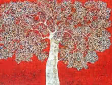 Bhaskar Rao | Acrylic Painting title Treescape 89 on Canvas | Artist Bhaskar Rao Gallery | ArtZolo.com