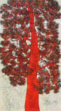 Bhaskar Rao | Acrylic Painting title Treescape 90 on Canvas | Artist Bhaskar Rao Gallery | ArtZolo.com