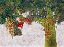 Nature Acrylic Art Painting title 'Treescape 99' by artist Bhaskar Rao