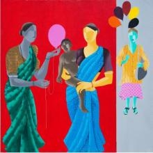 Figurative Acrylic Art Painting title Balloon For The Baby by artist Abhiram Bairu