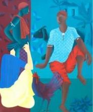 Figurative Acrylic Art Painting title 'Men In Discussion' by artist Abhiram Bairu
