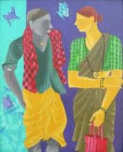 Talking Couple | Painting by artist Abhiram Bairu | acrylic | Canvas