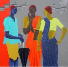 Figurative Acrylic Art Painting title Gather by artist Abhiram Bairu