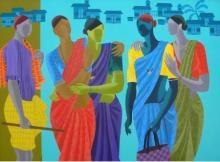 Abhiram Bairu   Acrylic Painting title Women Get Together on Canvas   Artist Abhiram Bairu Gallery   ArtZolo.com