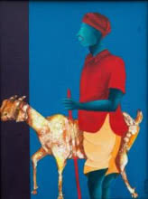 Figurative Acrylic Art Painting title 'Me And My Goat' by artist Abhiram Bairu