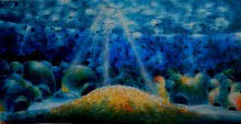 Ranchhor Meghwal | Acrylic Painting title Into The Sea on Canvas | Artist Ranchhor Meghwal Gallery | ArtZolo.com