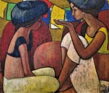 Suruchi Jamkar | Acrylic Painting title A Playful Conversation on Canvas | Artist Suruchi Jamkar Gallery | ArtZolo.com