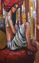 Girl In A Red Turban | Painting by artist Suruchi Jamkar | acrylic | Canvas
