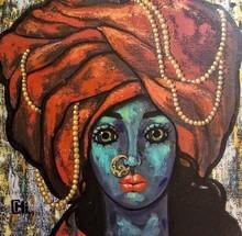 Portrait Acrylic Art Painting title Girl In A Turban 2 by artist Suruchi Jamkar
