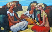 Suruchi Jamkar | Acrylic Painting title Girls Playing Marbles 2 on Canvas | Artist Suruchi Jamkar Gallery | ArtZolo.com