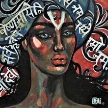 Portrait Acrylic Art Painting title 'Hymns 2' by artist Suruchi Jamkar