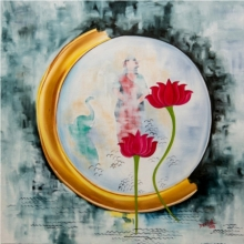 contemporary Acrylic Art Painting title Lakshmi by artist Deepali Mundra