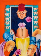 contemporary Acrylic-oil Art Painting title 'Composition on shree nath ji' by artist Deepali Mundra