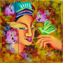 Deepali Mundra | Acrylic-oil Painting title Lady with a Bird on Canvas | Artist Deepali Mundra Gallery | ArtZolo.com