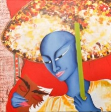 Man With Mask 24 X 24in.oil Acrylic | Painting by artist Deepali Mundra | Acrylic | Canvas