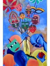Mukhote 24x36 | Painting by artist Deepali Mundra | Acrylic | Canvas