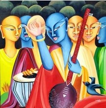 contemporary Oil Art Painting title Musical ensemble by artist Deepali Mundra