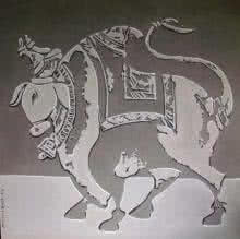 Bull Shadow | Painting by artist Vivek Kumavat | acrylic | Canvas