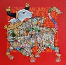 Vivek Kumavat | Acrylic Painting title Nandi 38 on Canvas | Artist Vivek Kumavat Gallery | ArtZolo.com