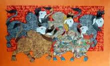 Vivek Kumavat | Acrylic Painting title Dancing Nandis 2 on Canvas | Artist Vivek Kumavat Gallery | ArtZolo.com