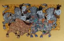Vivek Kumavat | Acrylic Painting title Dancing Nandis 5 on Canvas