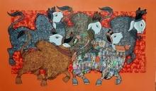 Bulls | Painting by artist Vivek Kumavat | acrylic | Canvas