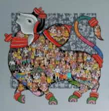 Nandi 56 | Painting by artist Vivek Kumavat | acrylic | Canvas