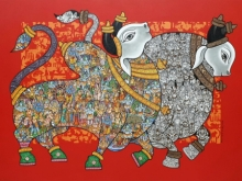 Animals Acrylic Art Painting title 'Dancing Nandis' by artist Vivek Kumavat
