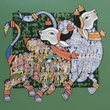 Animals Acrylic Art Painting title 'Nandi 64' by artist Vivek Kumavat