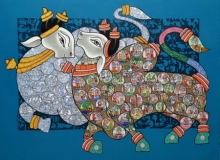 Animals Acrylic Art Painting title 'Nandi 72' by artist Vivek Kumavat