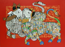 Animals Acrylic Art Painting title 'Nandi 59' by artist Vivek Kumavat