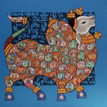 Animals Acrylic Art Painting title 'Nandi 58' by artist Vivek Kumavat