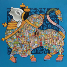 Animals Acrylic Art Painting title 'Nandi 71' by artist Vivek Kumavat