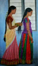 Figurative Oil Art Painting title Sisters by artist Vishalandra Dakur