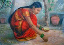 Vishalandra Dakur | Oil Painting title Girl Laying Kolam on Canvas | Artist Vishalandra Dakur Gallery | ArtZolo.com
